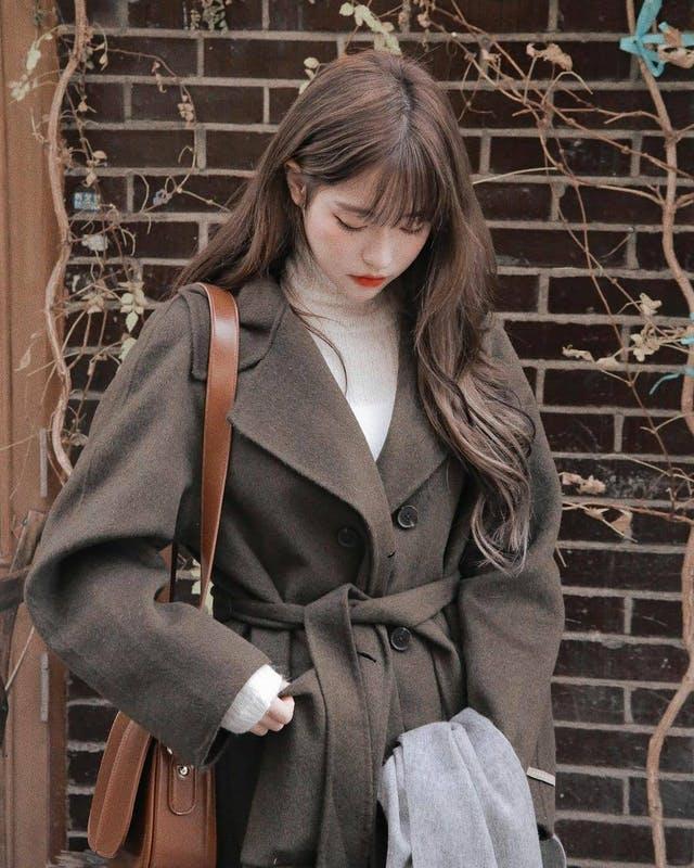 Korean girl in winter fashion clothes