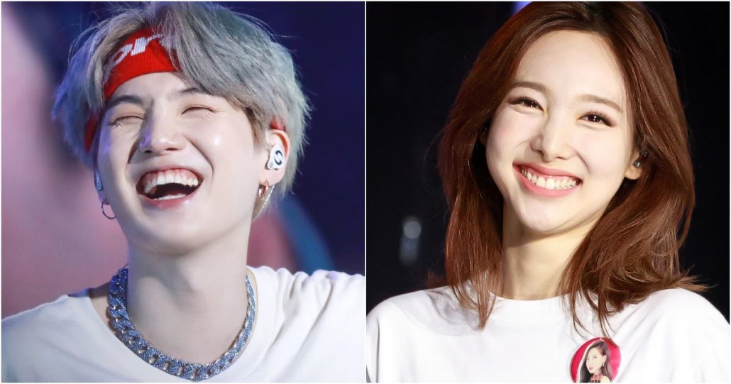 Korean Fashion Trends - Korean Teeth Trend - Yoongi (SUGA, Agust D) from BTS and Nayeon from TWICE